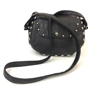 Handbags - Vegan Leather Silver Grommet Black Crossbody Bag